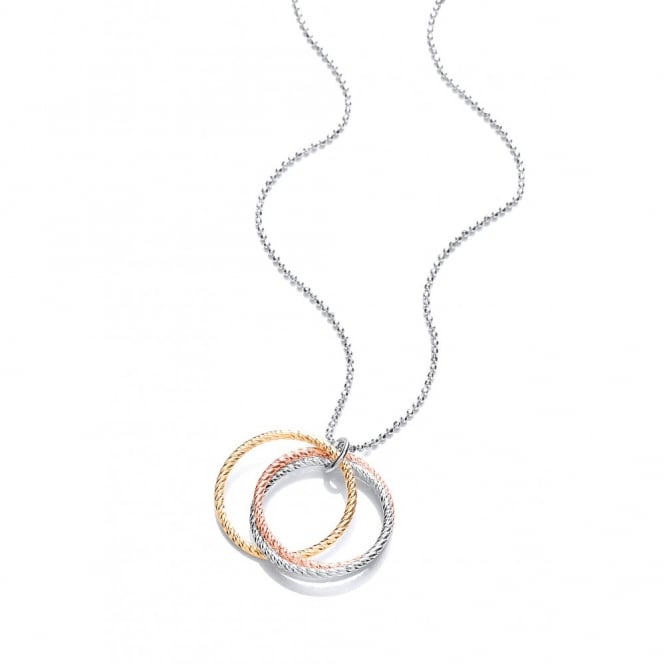 David Deyong Sterling Silver Tri-Colour Diamond Cut Hoops Necklace
