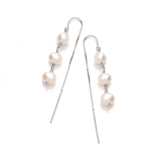 David Deyong Sterling Silver Triple Pearl Thread Through Earrings