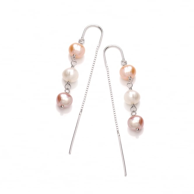 David Deyong Sterling Silver Triple Pink & White Pearl Thread Through Earrings