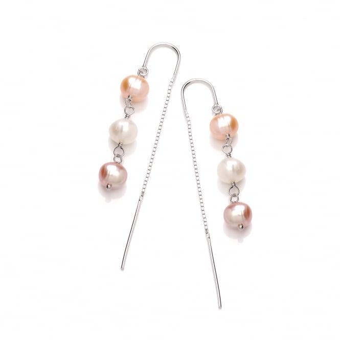 David Deyong Sterling Silver Triple Pink & White Pearl Thread Through Earrings
