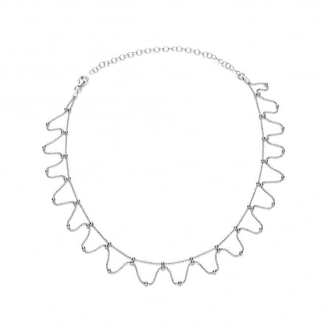 David Deyong Sterling Silver Wavy Diamond Cut Ball Chain Choker Necklace