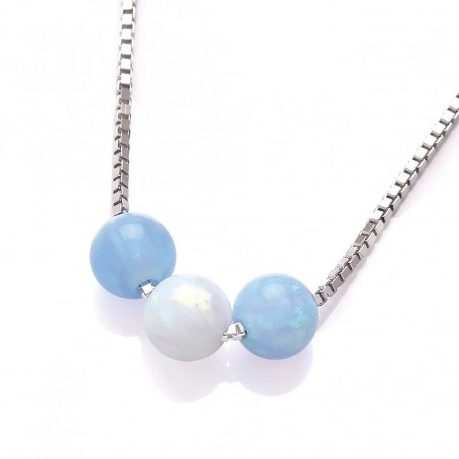 David Deyong Sterling Silver White & Blue Opal Triple Ball Necklace