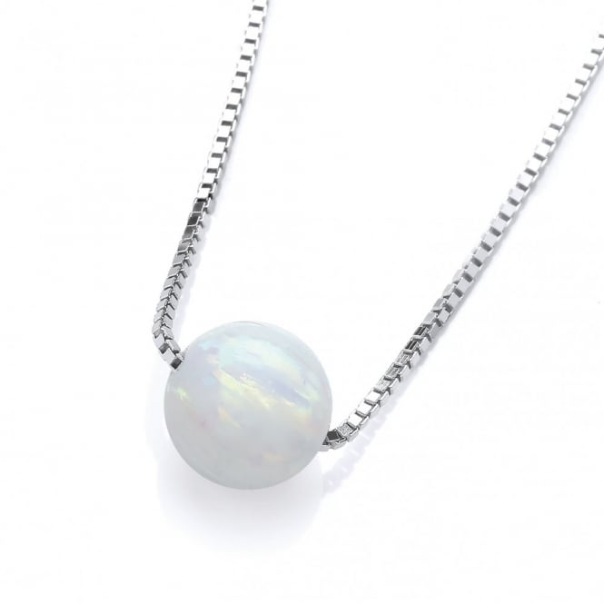 David Deyong Sterling Silver & White Opal Ball Necklace