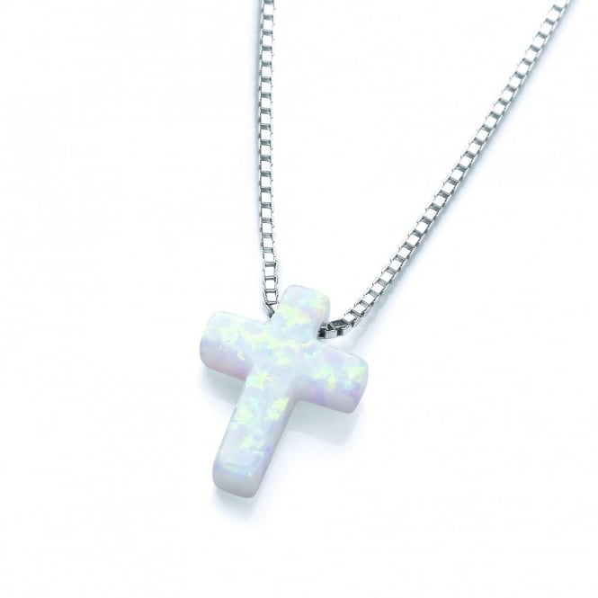 David Deyong Sterling Silver White Opal Cross Necklace