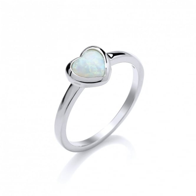 David Deyong Sterling Silver & White Opal Heart Ring