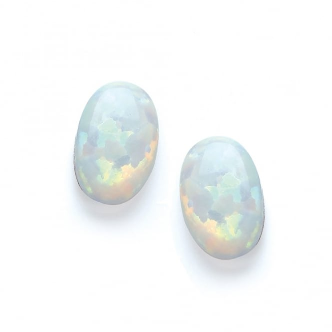 David Deyong Sterling Silver & White Opal Small Oval Stud Earrings