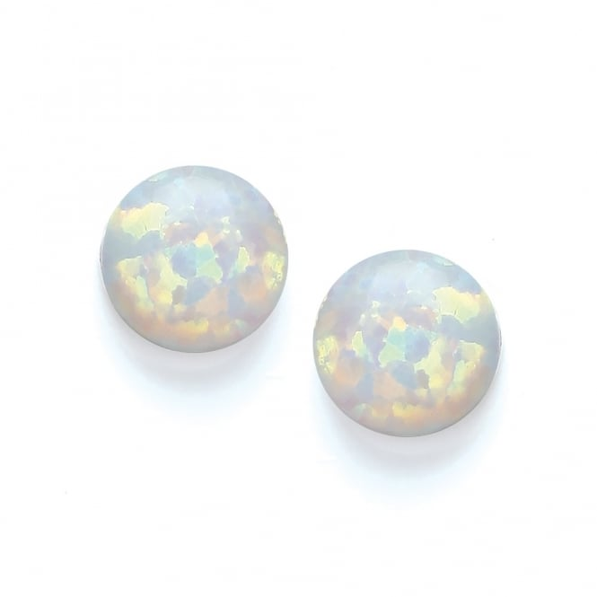 David Deyong Sterling Silver & White Opal Small Round Stud Earrings