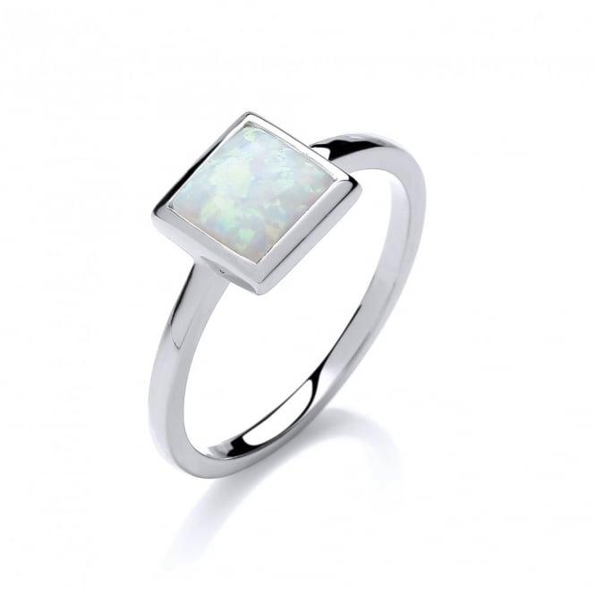David Deyong Sterling Silver & White Opal Square Ring