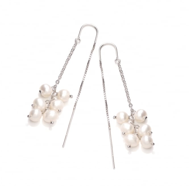 David Deyong Sterling Silver & White Pearl Cluster Thread Through Earrings