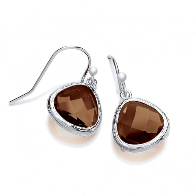 David Deyong Sterling Silver with Brown Faceted Crystal Drop Earrings