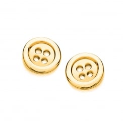 Sterling Silver & Yellow Gold Plated Button Stud Earrings