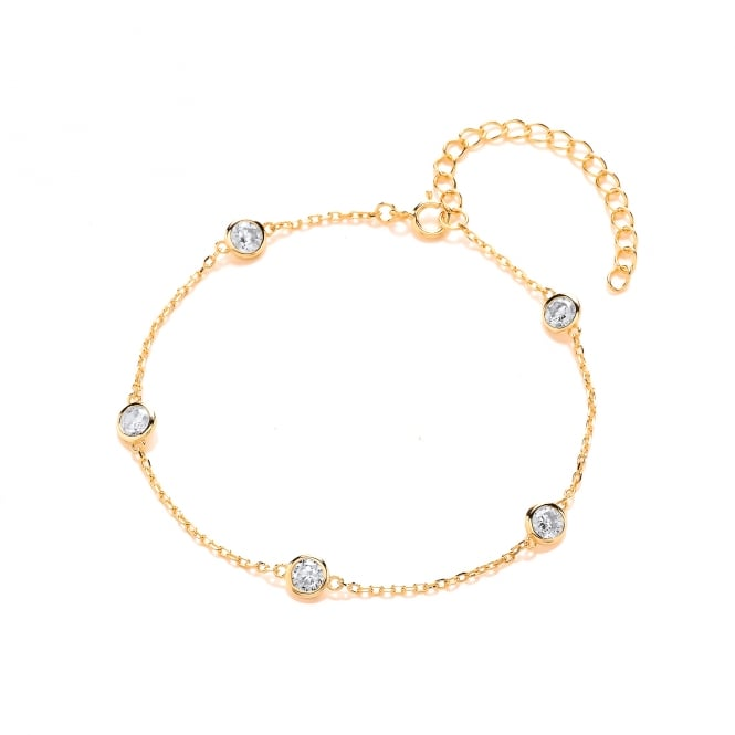David Deyong Sterling Silver & Yellow Gold Plated Chain and Cubic Zirconia Bracelet