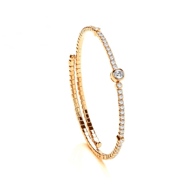 David Deyong Sterling Silver & Yellow Gold Plated Cubic Zirconia Contemporary Tennis Bangle