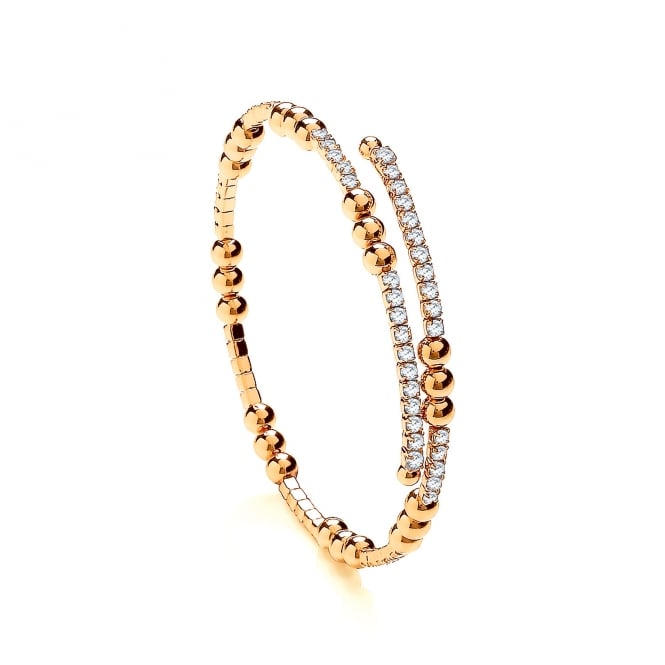 David Deyong Sterling Silver & Yellow Gold Plated Cubic Zirconia Triple Bead Tennis Bangle