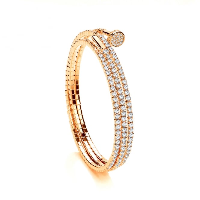 David Deyong Sterling Silver & Yellow Gold Plated Cubic Zirconia Triple Wrap Tennis Bangle