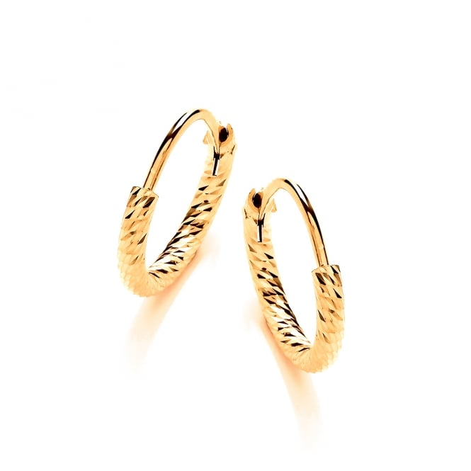 David Deyong Sterling Silver & Yellow Gold Plated Diamond Cut 15mm Hoop Earrings