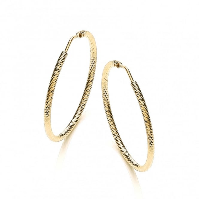 David Deyong Sterling Silver & Yellow Gold Plated Diamond Cut 35mm Hoop Earrings