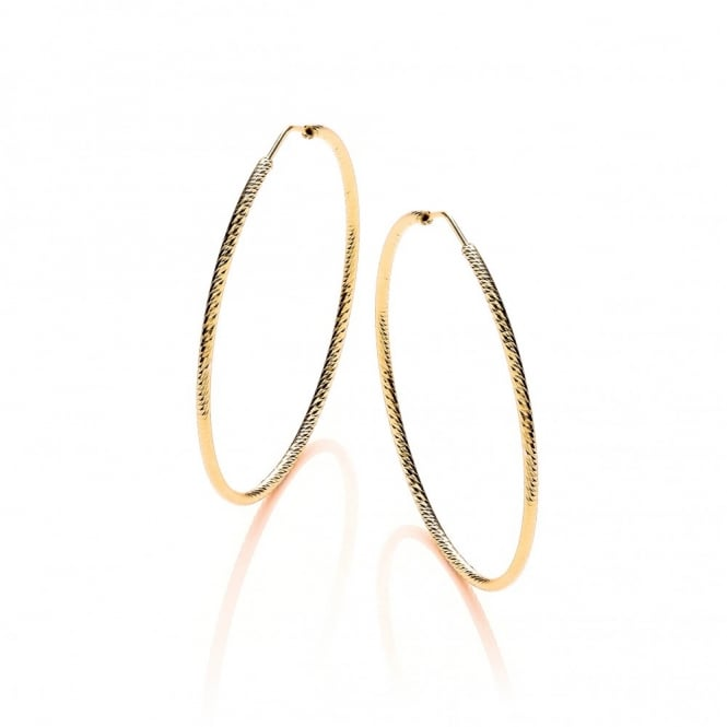 David Deyong Sterling Silver & Yellow Gold Plated Diamond Cut 55mm Hoop Earrings