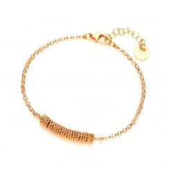Sterling Silver & Yellow Gold Plated Diamond Cut Rings Bracelet