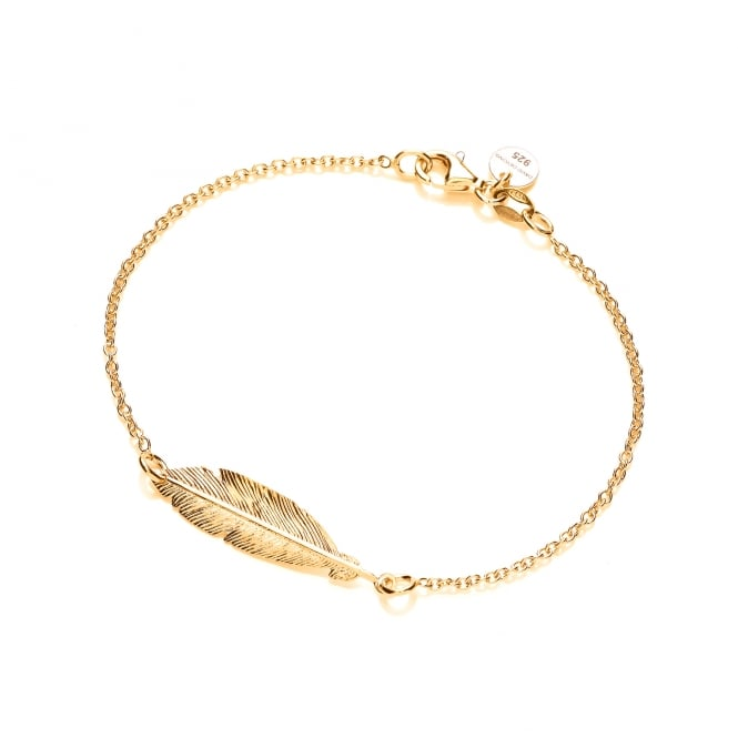 David Deyong Sterling Silver & Yellow Gold Plated Feather Bracelet