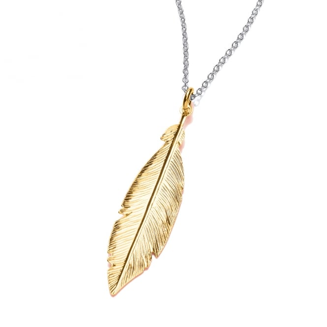 David Deyong Sterling Silver & Yellow Gold Plated Feather Necklace