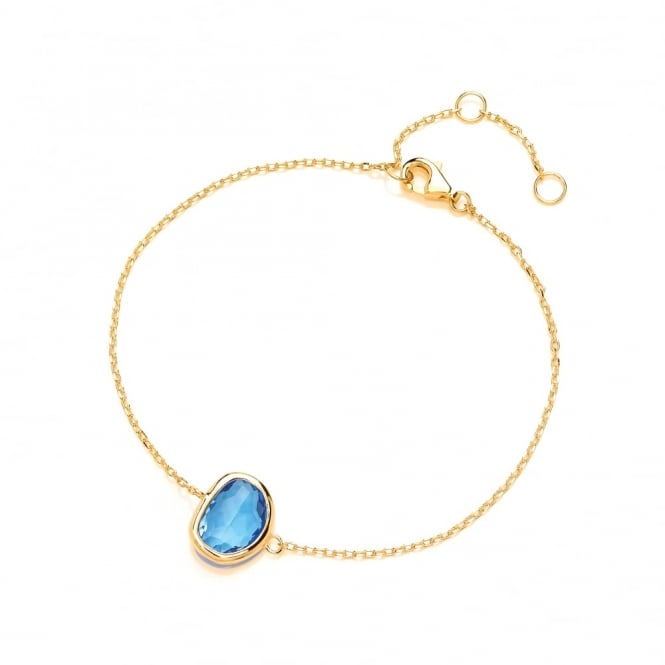 David Deyong Sterling Silver & Yellow Gold Plated Fine Chain with Blue Faceted Crystal Bracelet