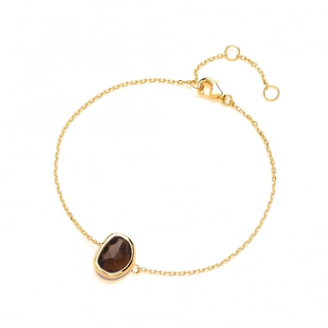 David Deyong Sterling Silver & Yellow Gold Plated Fine Chain with Brown Faceted Crystal Bracelet