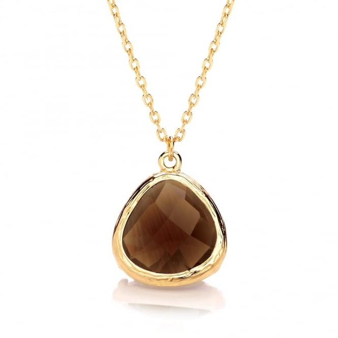 David Deyong Sterling Silver & Yellow Gold Plated Fine Chain with Brown Faceted Crystal Necklace