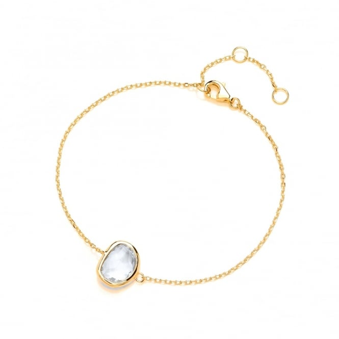 David Deyong Sterling Silver & Yellow Gold Plated Fine Chain with Clear Faceted Crystal Bracelet