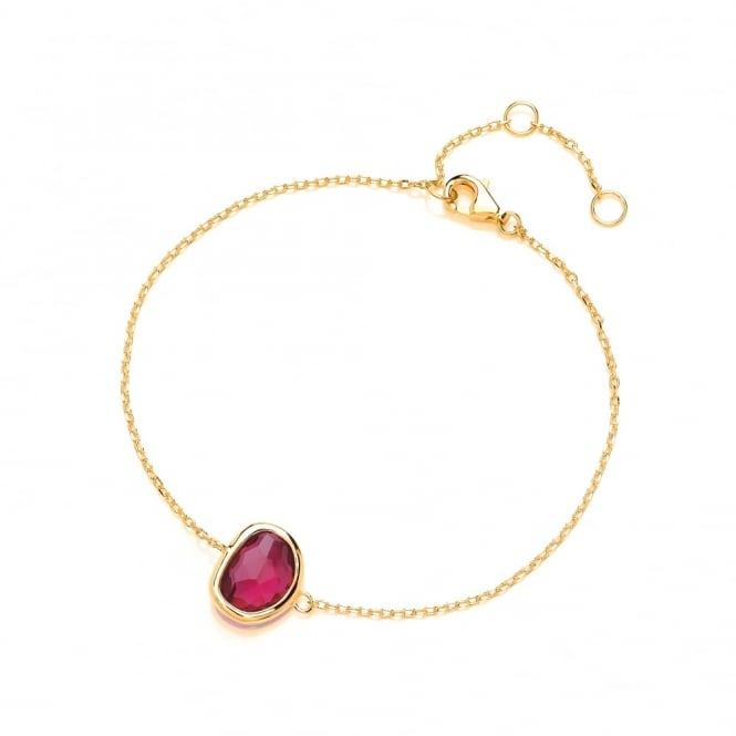 David Deyong Sterling Silver & Yellow Gold Plated Fine Chain with Fuchsia Faceted Crystal Bracelet
