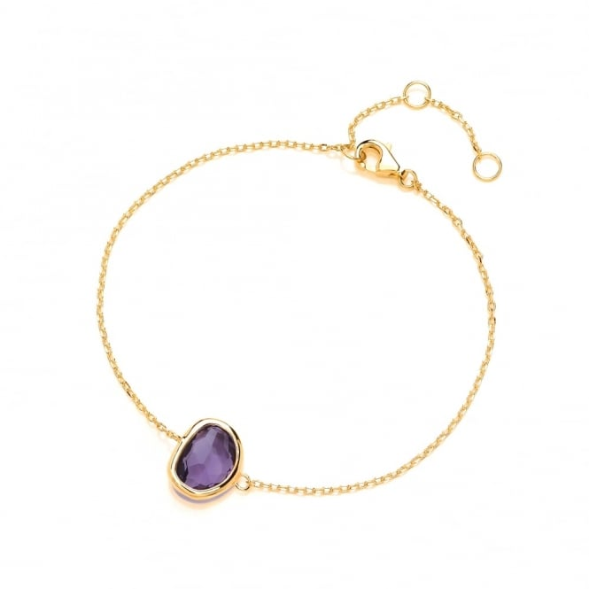 David Deyong Sterling Silver & Yellow Gold Plated Fine Chain with Purple Faceted Crystal Bracelet