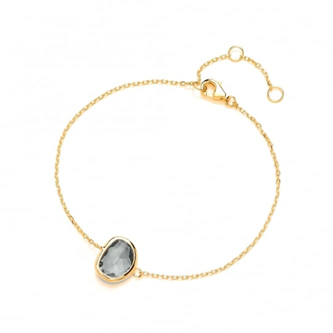 David Deyong Sterling Silver & Yellow Gold Plated Fine Chain with Smoky Faceted Crystal Bracelet