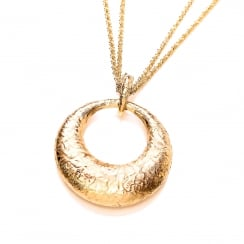 Sterling Silver & Yellow Gold Plated Hammered Round Pendant & Chain