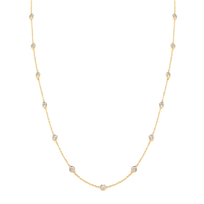 David Deyong Sterling Silver & Yellow Gold Plated Long Chain and Cubic Zirconia Necklace