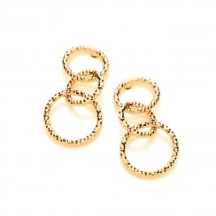 Sterling Silver & Yellow Gold Plated Mini Diamond Cut Drop Earrings