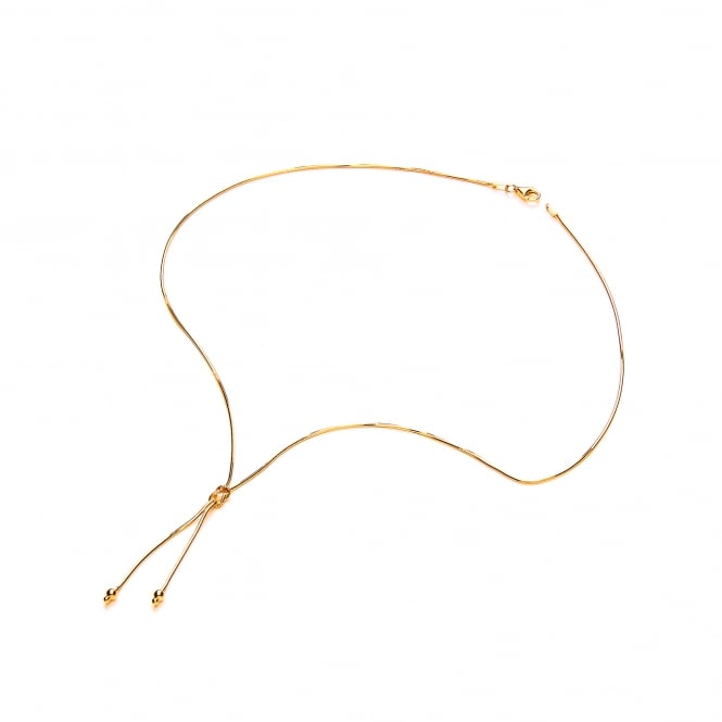David Deyong Sterling Silver & Yellow Gold Plated Snake Chain & Knot Necklace