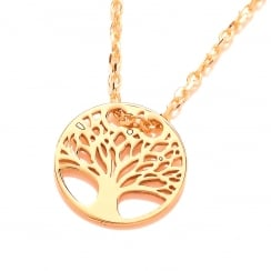 Sterling Silver & Yellow Gold Plated Tree of Life Fine Necklace