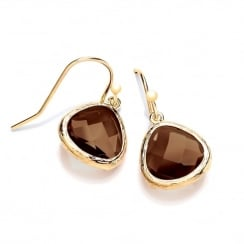 Sterling Silver & Yellow Gold Plated with Brown Faceted Crystal Drop Earrings
