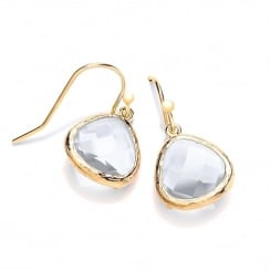 Sterling Silver & Yellow Gold Plated with Clear Faceted Crystal Drop Earrings