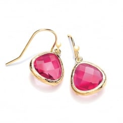 Sterling Silver & Yellow Gold Plated with Fuchsia Faceted Crystal Drop Earrings