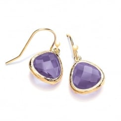Sterling Silver & Yellow Gold Plated with Purple Faceted Crystal Drop Earrings