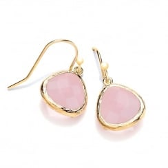 Sterling Silver & Yellow Gold Plated with Rose Faceted Crystal Drop Earrings