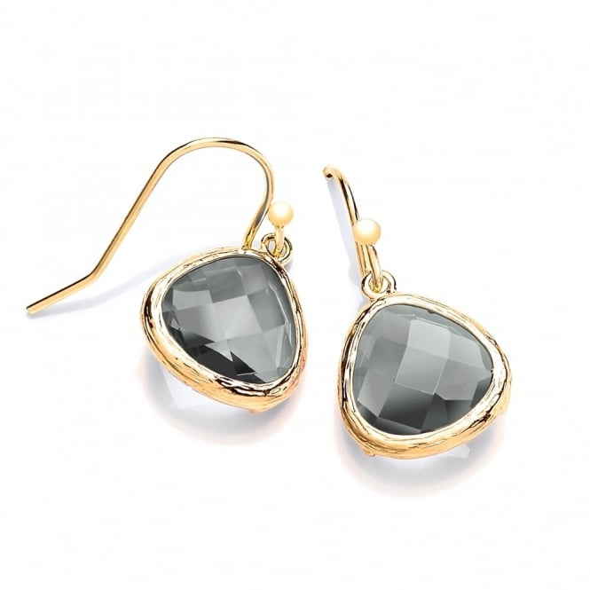 David Deyong Sterling Silver & Yellow Gold Plated with Smoky Faceted Crystal Drop Earrings