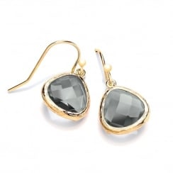 Sterling Silver & Yellow Gold Plated with Smoky Faceted Crystal Drop Earrings