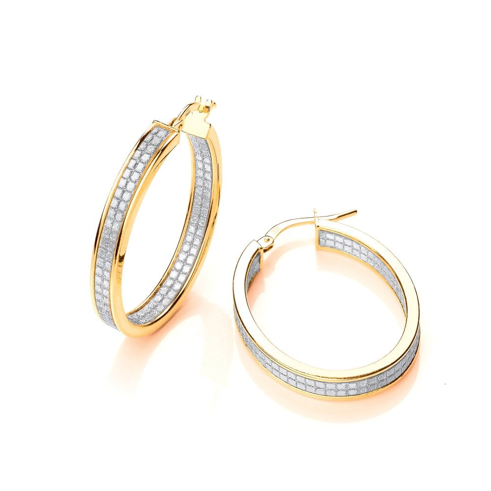 ad6152c6e67e5 Sterling Silver Yellow Gold Shimmering Textured Oval Hoop Earrings