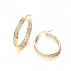 e6a2fe2ec Sterling Silver Yellow Gold Shimmering Textured Oval Hoop Earrings New In · David  Deyong Sterling ...
