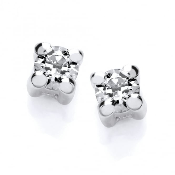 DiamonDust Jewellery Sterling Silver 2mm Solitaire Claw Set Studs Created with Swarovski® Zirconia