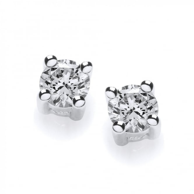 DiamonDust Jewellery Sterling Silver 3mm Solitaire Claw Set Studs Created with Swarovski® Zirconia