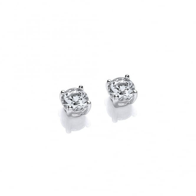 DiamonDust Jewellery Sterling Silver 4mm Solitaire Claw Set Studs Made with Swarovski Zirconia