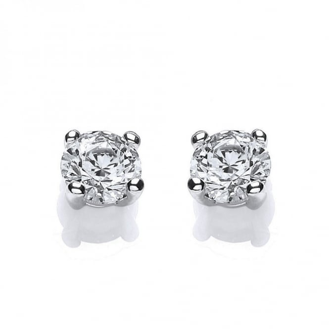 DiamonDust Jewellery Sterling Silver 6.5mm Solitaire Claw Set Studs Made with Swarovski Zirconia